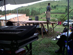 Open air service in Ntungama